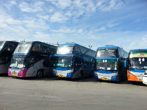Bus services waiting to depart from the Northern bus terminal