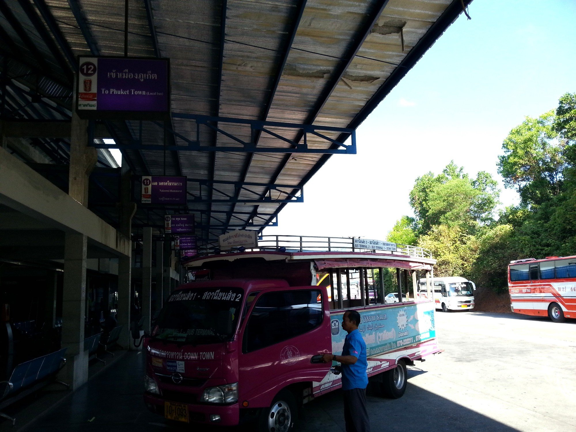 Pink shared taxi at Phuket Bus Terminal 2